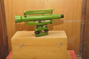 Brass dumpy level transit surveying alidade With Wooden Box And Accessories