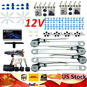 4 Power Roll Up Window 4 Switches Conversion Kit Keyless Entry Auto Car Truck