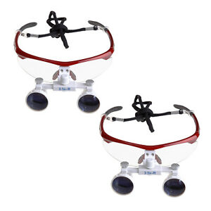2x Red Dental Surgical Medical Binocular Loupes 3 5x 420mm Optical Glass New Us