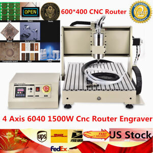 4 Axis 6040 Cnc 3d Spindle Router Engraver Cutting Milling Carving Machine 1500w