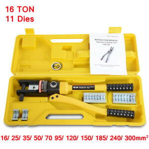 16 Ton Hydraulic Crimper Stainless Steel Crimping Tool For Cable Lugs W 11 Dies