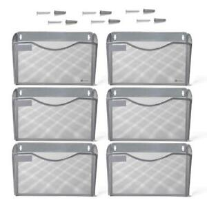 Kinwell 6 Pack Office Hanging Mesh Letter size Wall File Holder Organizer Single