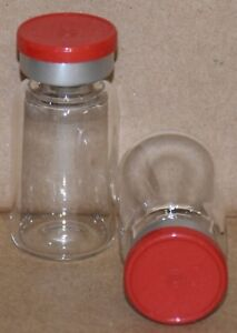 10 Ml Clear Sterile Vial With Red Plain Flip Cap Seal Qty 50