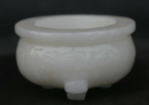 3 7 Chinese White Jade Hand Carving Tripodia Treasure Bowl Incense Burner Censer