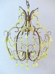 Vintage Chandelier Yellow Opaline Drops Beads 1 Light Gouttes Macaroni 1940 Rare