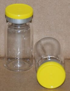 10 Ml Clear Sterile Vial With Yellow Plain Flip Cap Seal Qty 100