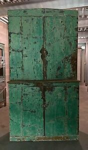 Primitive Green Painted One Piece Stepback Cabinet 12d17d43w79h