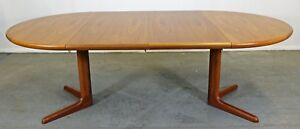 Mid Century Danish Modern Skovby Round Extendable Teak Dining Table