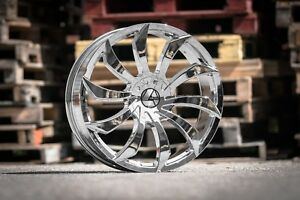 4 Wheels 20x8 5 Azara Aza 507 Chrome Rims 5x120 5x114 3 Et35 727 8o8 O587