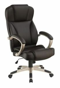 Dark Brown Leatherette Upholstered Office Chair With Champagne Metal Base 800880