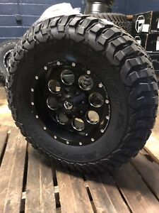 5 17 Fuel Revolver Black Wheels Jeep Wrangler Jk Jl 35 Bfg Km3 Tires Package