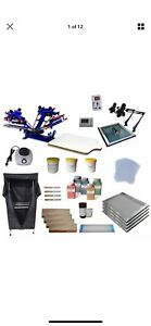 4 Color Screen Printing Kit Manual Screen Stretcher Adjustable Press Printer
