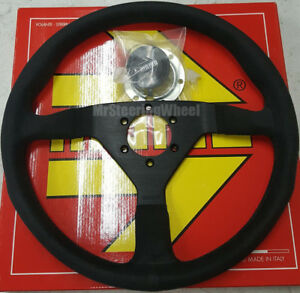 Momo Monte Carlo Alcantara Suede 350mm Black Stitch Steering Wheel Mcl35al1b