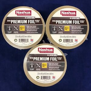 Set Of 3 Nashua 324a 2 1 2 X 180 Hvac Foil Tape Ul181a p Recall Approved