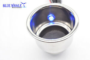 4pcs Blue Whale Led Blue Stainless Steel Cup Drink Holder With Drain For Boat rv