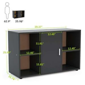 Vertical File Cabinet With Door Storage And 4 Open Cubes For Home Office Storage