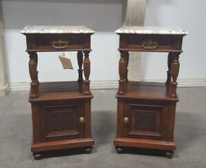 Pair Of French Renaissance Nightstands With Marble Tops
