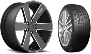 22 Foose F158 Black Milled Wheels Rims And Tires Package 6x5 5 6 Lug Chevy Gmc