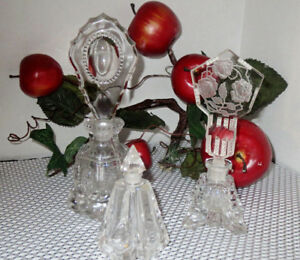 Perfume Bottles Art Deco Cut Glass Crystal Extraordinary Three In Set