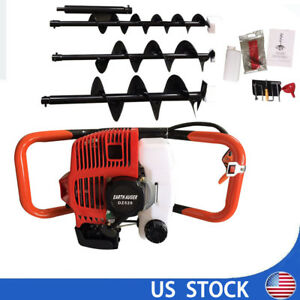 52cc 2 3hp Gas Powered Post Hole Digger With Earth Auger Drill Bit 4 6 8