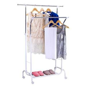 Mythinglogic Double Rail Garment Rack With Wheels Heavy Duty Commercial Rolling