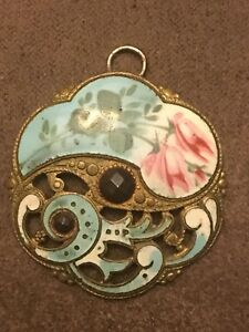 Spectacular Antique French Hand Painted Enamel Button Pendant W Open Work