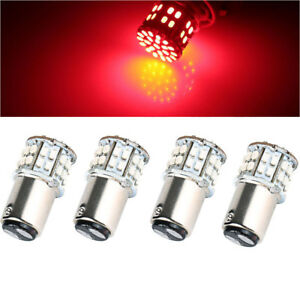 4 X Bay15d 1157 Red Car Tail Stop Brake Light Super Bright 50 Smd Led Bulb 12v