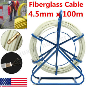 100m X 4 5mm Fish Tape Fiberglass Wire Cable Running Rod Duct Rodder Puller Tool