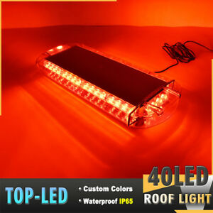 22 40 Led Strobe Lights Emergency Beacon Warning Flash Tow Truck Roof Top Red