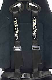 Car Truck 4 Point Safety Seat Belt Quick Release 2 Harness Strap Black Ractive