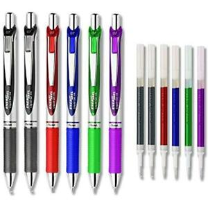 Gel Ink Rollerball Pens Energel Deluxe Rtx Retractable Liquid Pack Of 6 With