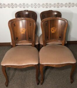Baker Furniture Style Vintage Poker Chairs Hand Carved Inlay Great Condition