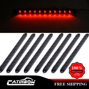 8pcs 15 Stop Turn Brake Tail Light Sealed Clear red 11 Led For Trailer Truck Rv
