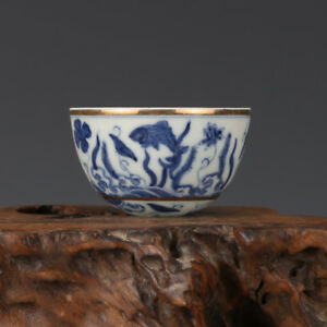 3 China Old Antique Porcelain Ming Chenghua Blue White Waterweeds Cup