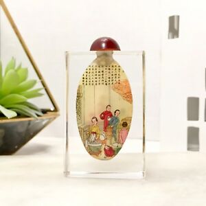 Beautiful Old Antique Reverse Painted Chinese Clear Gold Glass