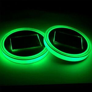 Solar Cup Holder Bottom Pad Led Light Cover Trim Atmosphere Lamp For All Car