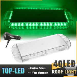 22 40 Led Strobe Lights Bar Emergency Beacon Warning Tow Truck Roof Top Green