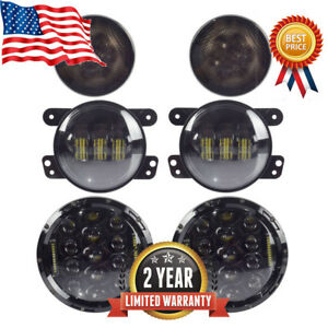 7 Led Headlights Amber Signal Turn Light 4 Fog Lamp Kit Jeep Wrangler Jk Ip65