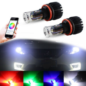 2x For Fog Drl Lights Multi color Rgb Smartphone Wireless Remote H8 H11 Cree Led