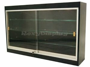 Black Wall Hanging Display Case Sliding Glass Doors With Glass Shelves