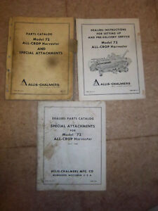 Allis chalmers 72 All Crop Harvester Parts Manual original 1960s lot attachment