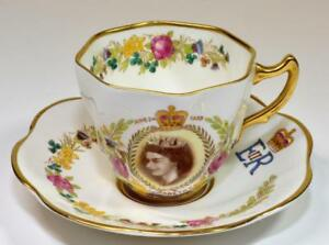 50s Rosina Bone China England Elizabeth Ii Coronation Set Tea Cup
