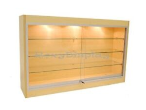 Maple Wall Hanging Display Case Sliding Glass Doors With Glass Shelves