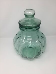 Large Antique 14 Green Tint Glass Apothecary Jar Canister Candy Display