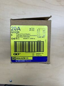 Square D Qo220 Double Pole 20 Amp Lot Of 5 1 Box Of 5 Circuit Breakers New