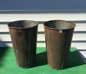 2 Tall Tin Antique Sap Buckets Great Decor Crafts Planters