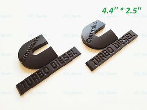 2pcs 4 4 Black Cummins Turbo Diesel Emblem Fit For Badge Dodge Ram 2500 3500