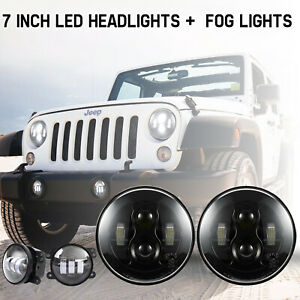 200w Led Headlights 7inch 2pcs Offroad Driving Lights For Jeep Wrangler Jk 07 17