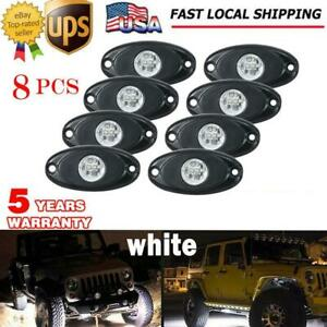 8x Cree White Led Rock Light Pods Offroad Fender Lamp Under Body Decor Truck Suv