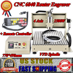 4 Axis Cnc 6040 Router Engraver 1 5kw Vfd Carving Drilling Engraving Machine Usa